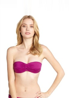 Badgley Mischka plum shirred nylon twist bandeau top