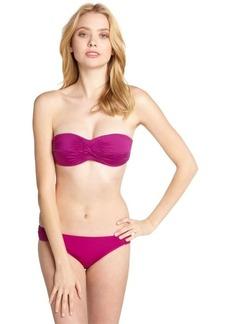 Badgley Mischka plum stretch nylon side shirred bikini bottoms