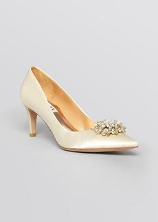 Badgley Mischka Pointed Toe Evening Pumps - Gardenia Mid Heel