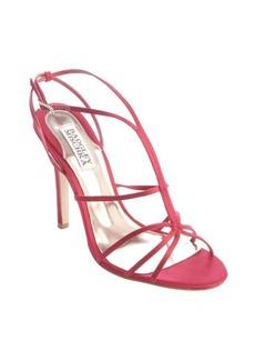 Badgley Mischka raspberry satin strappy sandals
