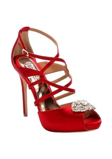 Badgley Mischka red satin embellished 'Fisher' strappy heels