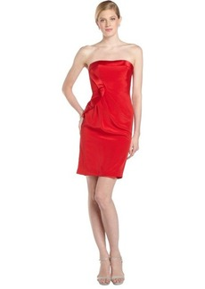 Badgley Mischka red stretch silk strapless cocktail dress