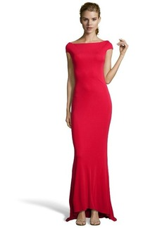 Badgley Mischka red stretch woven off shoulder open back gown