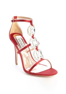 Badgley Mischka red textile jewel t-strap 'Harvey' heel sandals