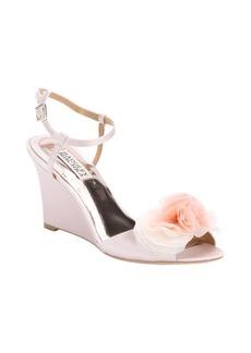 Badgley Mischka rose satin 'Glee' flower detail open toe wedge sandals
