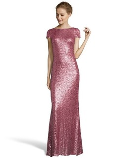 Badgley Mischka rose sequined cowl back evening gown