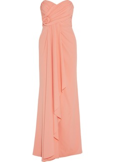 Badgley Mischka Ruched crepe gown