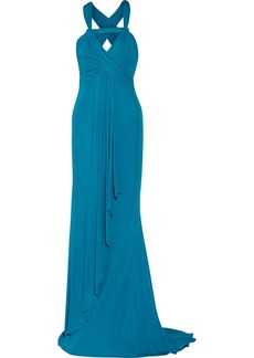 Badgley Mischka Ruched jersey gown