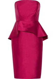 Badgley Mischka Ruffled mikado peplum dress
