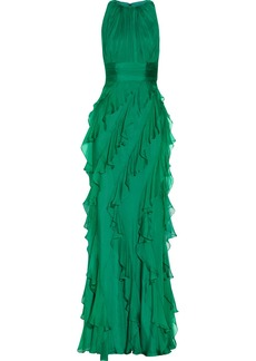 Badgley Mischka Ruffled silk gown