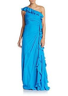 Badgley Mischka Ruffled Silk One-Shoulder Gown