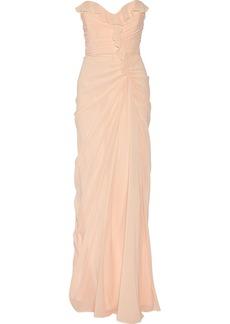 Badgley Mischka Ruffled stretch-silk gown