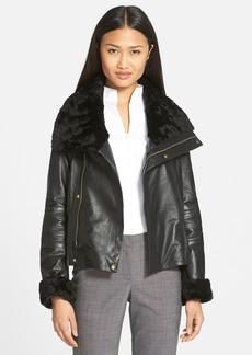 Badgley Mischka 'Samara' Leather Jacket with Genuine Shearling (Online Only)