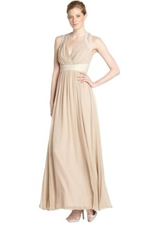 Badgley Mischka sandstone stretch woven beaded waist evening gown