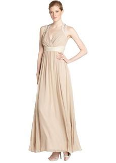 Badgley Mischka sandstone stretch woven beaded waist evening gown