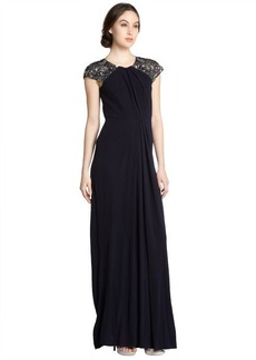 Badgley Mischka sapphire jersey cap sleeve embellished shoulder gown