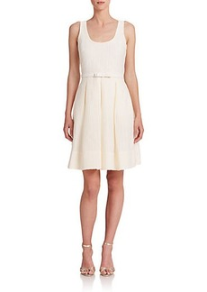 Badgley Mischka Scoopneck Belted Dress