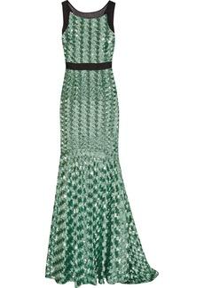 Badgley Mischka Sequin-embellished mesh and silk-organza gown