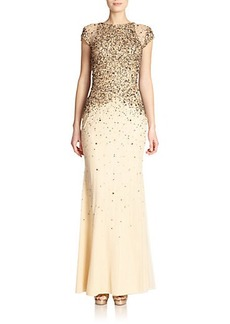 Badgley Mischka Sequined Cap Sleeve Gown