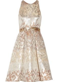 Badgley Mischka Sequined metallic jacquard dress