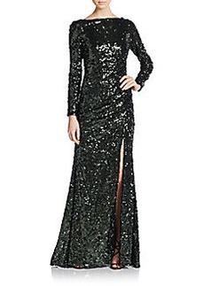 Badgley Mischka Sequined Slit Gown
