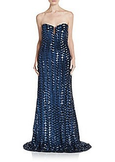 Badgley Mischka Sequined Strapless Illusion Gown