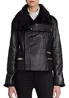 Badgley Mischka Shearling-Trimmed Leather Jacket