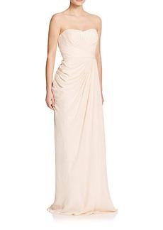 Badgley Mischka Silk Ruched Gown