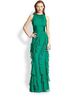 Badgley Mischka Silk Ruffle Gown