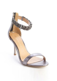 Badgley Mischka silver leather rope and crystal detail heel 'Hawthorne' sandals