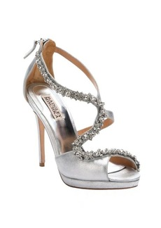Badgley Mischka silver satin crystal encrusted strappy heel 'Flair II' sandals