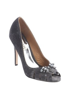 Badgley Mischka silver textile crustal decorative peep toe pumps