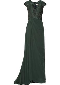 Badgley Mischka Snake-effect brocade and silk-chiffon gown