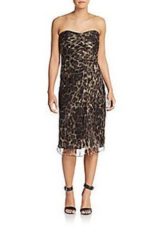 Badgley Mischka Strapless Leopard-Print Silk Dress