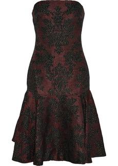 Badgley Mischka Strapless metallic jacquard dress