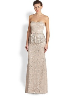 Badgley Mischka Strapless Metallic-Lace Gown