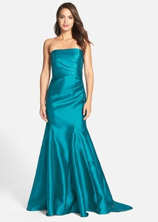 Badgley Mischka Strapless Mikado Gown