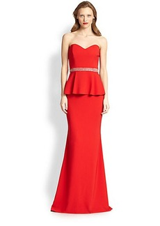 Badgley Mischka Strapless Peplum Gown