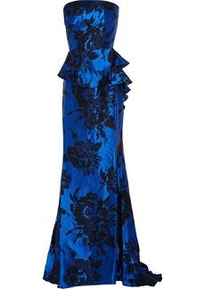 Badgley Mischka Strapless ruffled jacquard gown