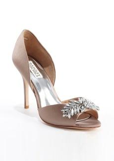 Badgley Mischka taupe nylon 'Nikki' crystal embellished pumps