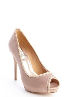 Badgley Mischka taupe satin rope detailed 'Lottie II' peep toe pumps