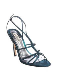 Badgley Mischka teal 'Vivian' shimmery strappy heeled sandals