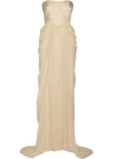 Badgley Mischka Textured cotton-blend and chiffon gown