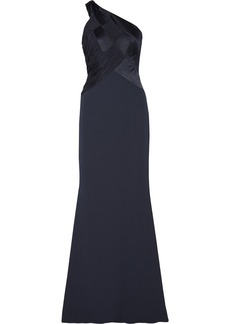 Badgley Mischka Textured-crepe gown