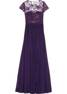 Badgley Mischka Tiered, embroidered tulle and silk-chiffon gown