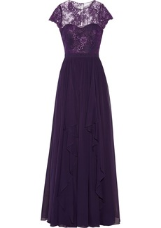 Badgley Mischka Tiered silk-chiffon gown