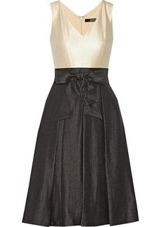 Badgley Mischka Two-tone satin-crepe dress