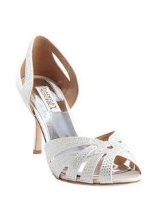 Badgley Mischka white nylon crystal studded 'Tatiana' pumps