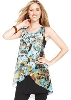 Style&co. Butterfly-Print Tulip Tank