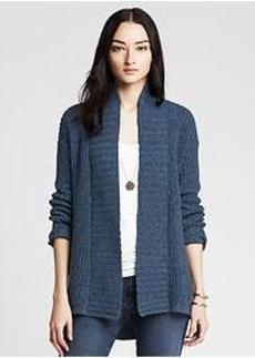 Acid-Washed Open Cardigan